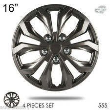 "New 16"" Hubcaps ABS Gunmetal Finish Performance Wheel Covers Set For Chevy 555"
