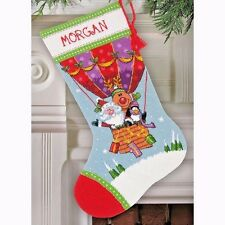 Needlepoint Kit Santa'S Balloon Ride Stocking Dimensions Christmas