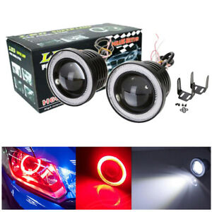 "2x Universal 3"" Inch Projector Fog Lights Bumper Lamps Red Halo Ring DRL Bulbs"