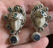 Sajen Offerrings Carved Goddess Sterling Silver Topaz Druzy Earrings BNIB