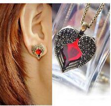 Combo Set Of Angel Wings Red Gem Heart Pendant + Stud Earrings~Vintage Bronze