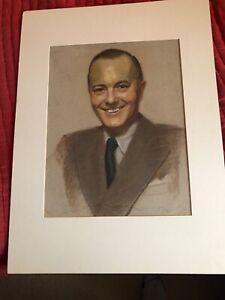 ROBERT YOUNG ART PASTEL BY G MAILLARD KESSLERE 1948 RARE ORIGINAL MATTED MUSEUM