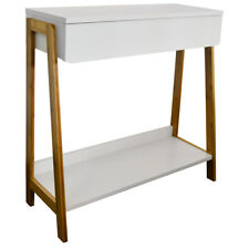 BAMBOO Console / Dressing Table with Shelf and Storage Drawer - White OC1088