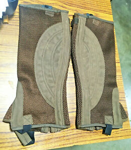 New Tough-1 Half Chaps Gaiters Breathable Brown X-Large Horse Riding Apparel