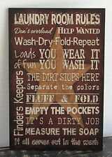 PRIMITIVE COUNTRY WOOD LAUNDRY SIGN HANDMADE INSPIRATIONAL HOME WALL DECOR 0544