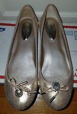ALFANI Step N Flex Women's Pearl Gold Round Ballet Flats Slip-On Shoes Sz 7 M