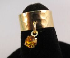 14 Kt Gold Plated Hammered Toe Ring With A Topaz (November) Crystal Dangle