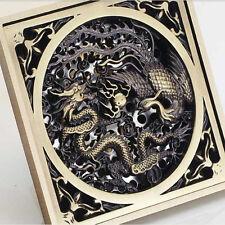 Bathroom Carved Dragon Floor Waste Drain Antique Brass Strainer