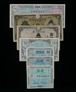 1930-1945 Japan 7-Notes Set // Imperial Japan & WW2 Allied Military Currency