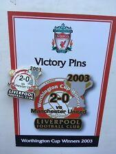 DANBURY MINT LIVERPOOL FC VICTORY PIN BADGE 2003 WORTHINGTON CUP WINNERS MAN U