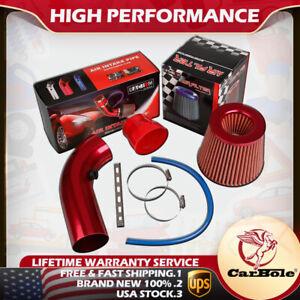 "Air Intake Kit Red Pipe Diameter 3"" + Cold Air Intake Filter + Clamp Accessories"
