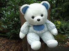 """Just Love Inc. plush white BEAR QUILTED BODY 1985 14"""" sitting stuffed toy"""