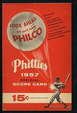 1957 Phillies Program Score Card vs Cardinals Ashburn Ennis Musial Ken Boyer