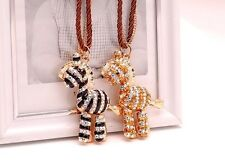 N565 BETSEY JOHNSON Crystal Gem Cute Glossy Stripey Zebra ZOO Necklace US