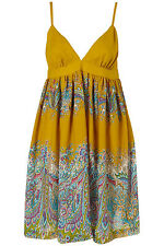 New beautiful TOPSHOP floral strappy dress UK 10 in Mustard/Multi
