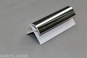 PVC CLADDING EXTERNAL CORNER 10MM X 2.6M CHROME SILVER FOR 1M WIDE SPLASH BACK