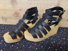 Steve Madden Corree Black Leather Platform Women's Heels Size 9.5 New With Box