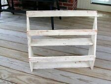 WOOD WOODEN WALL SHELF PRIMITIVE COUNTRY FARM CHIC SHABBY CHIPPY WHITE PAINTED