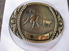 SOLID BRASS  COWBOY ON HORSEBACK BELT BUCKLE
