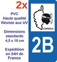 2 Autocollants Neufs plaque immatriculation sticker département Adhésif 2B Corse