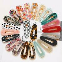 2pcs Women Geometric Hollow Acrylic Hair Clips Snaps Barrette Sticks Hairpin
