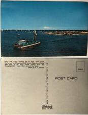"postcard Ferry Chappaquiddick Island Edgartown Ma. Beach Club VW Bus ""On Time"""