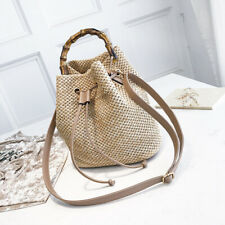 Rattan Woven Handbag Vintage Straw Summer Beach Handbag Bucket Tote Shoulder Bag