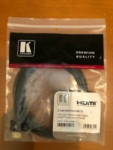 NEW Kramer C-HM/HM/PICO/BK-10 Ultra Slim High-Speed HDMI Cable with Ethernet 10'