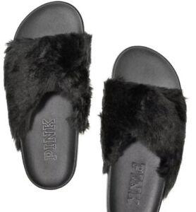 Victoria's Secret Faux Fur Slides PINK Sandals Criss Cross Black Women Sz S NEW
