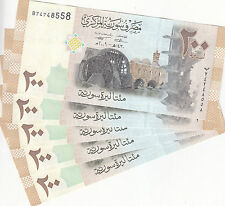 SYRIA 200 LIRA 2009 P-114 LOT X5 UNC NOTES  */*