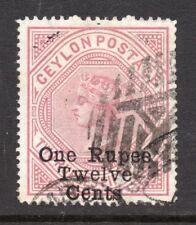Ceylon. 1885. Victoria. 1 Rupee 12 cents . used .  SG No. 176a. perf 12 1/2 x 14