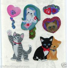 *VINTAGE* Sandylion Glittery CATS & HEARTS Scrapbook Stickers *FAST SHIP* H72