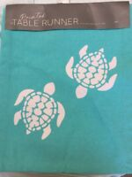 New Sea Turtle 🐢 Table Runner Turquoise Tropical Woven Beach House NWT