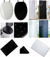 MODERN DIAMANTE WOODEN MDF WC TOILET SEAT, SHOWER CURTAINS WITH HOOKS & BATH MAT