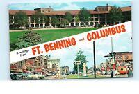*1960s Greetings from Ft. Benning Columbus Georgia Old Vintage Postcard C11