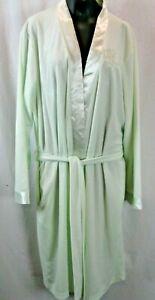 Miss Elaine Large Key Lime Wrap Robe Long Sleeve Large EUC! satin Trims