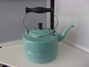 PAULA DEEN SPECKLED BLUE ENAMELWARE TEA  KETTLE VGC 2QT.