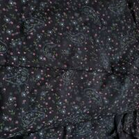 Floral Paisley Black Cotton Fabric 1 yard + 10 inches