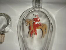 OWENS ILLINOIS GLASS HORSERACING DECANTER LIQUOR BOTTLE HOLLOW STOPPER 1954> RED