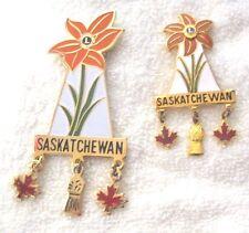 Lions Club Pin Vintage Saskatchewan Canada Flower Wood Lily set 2 Pins large sma