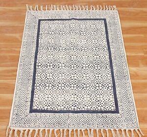 Cotton Handmade Dhurrie 8x10 ft Area Rugs Throw Kilim Rug Hand Block Printed Rug