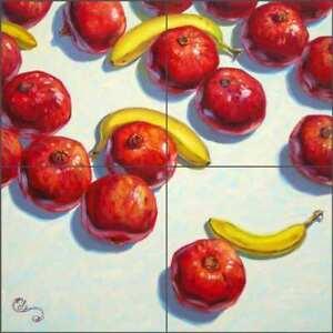 Pomegranate Tile Backsplash Beaman Cole Kitchen Fruit Art Ceramic Mural BCA026