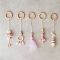 5Pcs Wool Felt Ball Lace Wood Beads Ring Play Gym Toys Baby Rattle Teething Toy