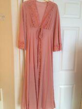 Vintage Ilise Stevens Rose Pink Long Nylon & Lace Robe 110� Hem Sweep Size Small