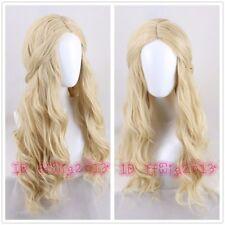 Elf queen cosplay wig Long wavy Curly Blonde Cosplay Wig +a wig cap