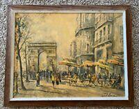 """Vintage Lucien Delarue Print """"L' Arche de Triomphe """" Wooden Frame"""
