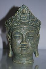 Aquarium Detailed Large Ancient Buddha Head Stone Ruin Ornament 14 x 13 x22 cms