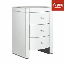 Argos Home Canzano 3 Drawer Bedside Chest - Mirrored