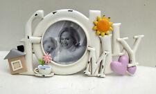 Family Photo Frame Word Sign Heart Ornament White Shabby Chic Mum Gift Heart New