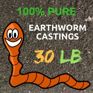Earthworm Castings 30 Pounds- 100% Organic- Natures Soil Amendment 100% pure